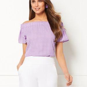 Eva Mendes lavender gingham off shoulder top